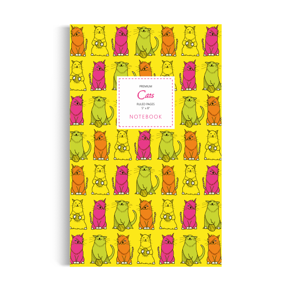 Cats Notebook: Yellow Edition (5x8 inches)