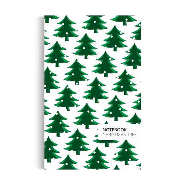 Christmas Tree Notebook: White Green Edition (5x8 inches)