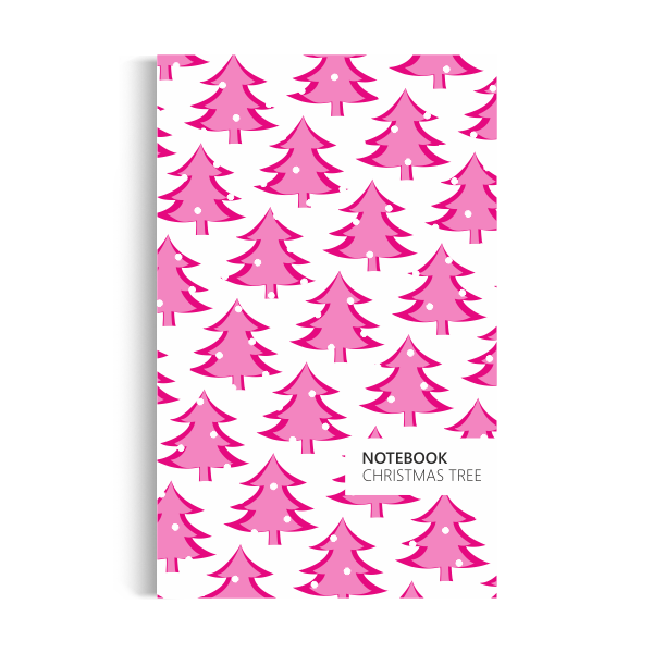 Christmas Tree Notebook: White Pink Edition (5x8)