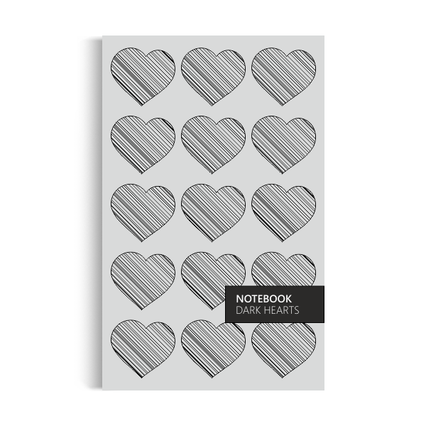 Notebook: Dark Hearts - Grey Edition (5x8 inches)