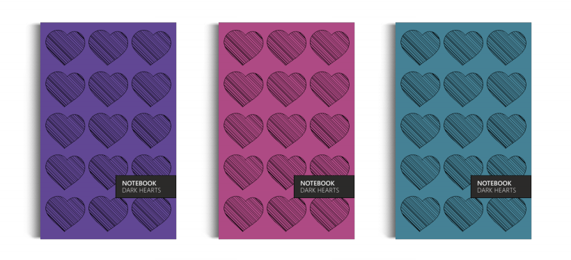 Notebook: Dark Hearts Collection (5x8 inches)