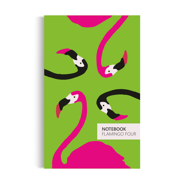 Flamingo Four Notebook: Green Edition (5x8 inches)