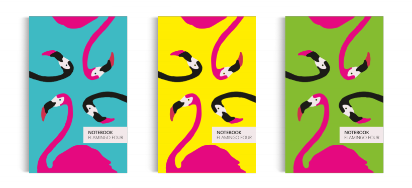 Notebook: Flamingo Four Collection (5x8 inches)