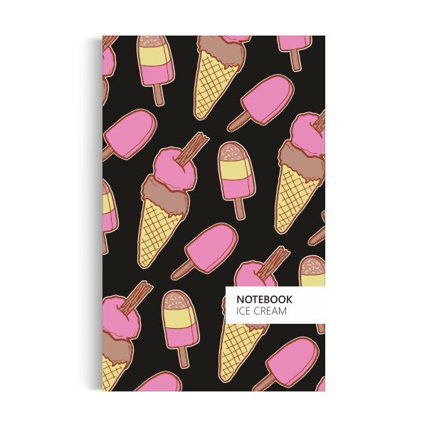 Ice Cream Notebook: Black Edition (5x8 inches)