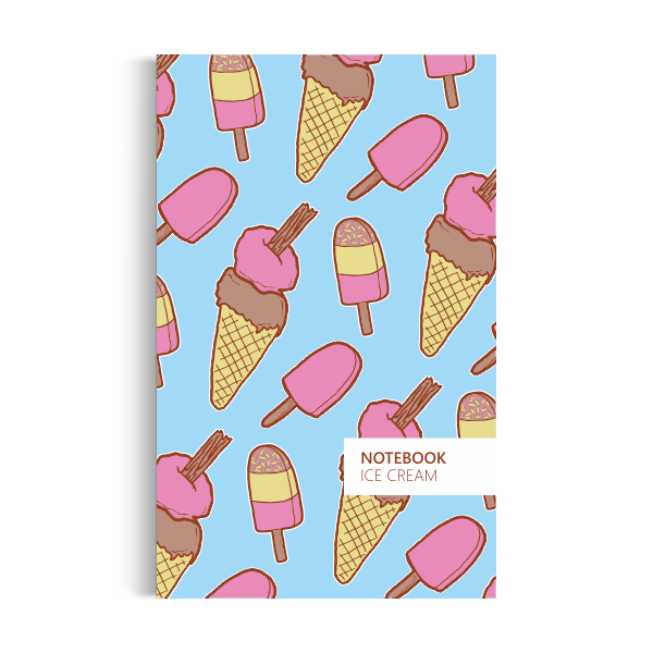 Notebook: Ice Cream - Sky Blue Edition (5x8 inches)