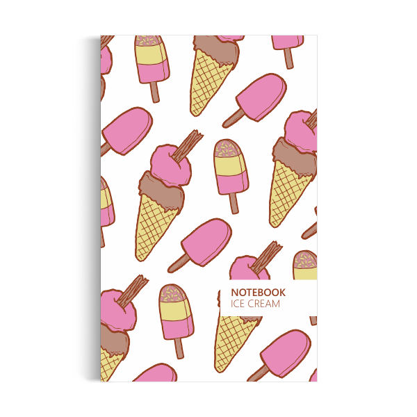 Ice Cream Notebook: White Edition (5x8 inches)