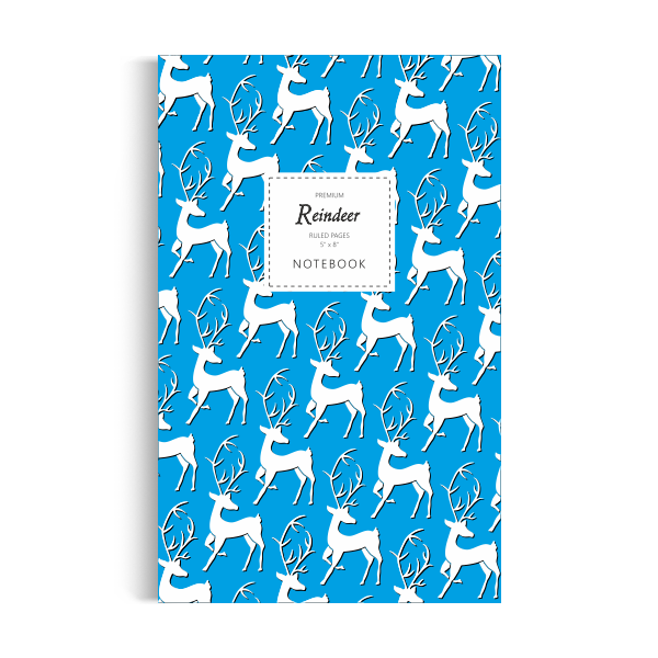 Reindeer Notebook: Blue Edition (5x8 inches)