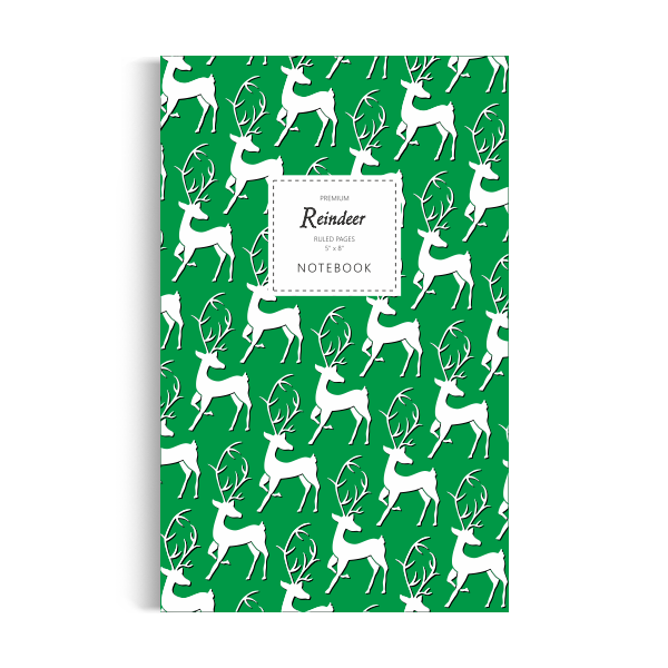 Reindeer Notebook: Green Edition (5x8 inches)