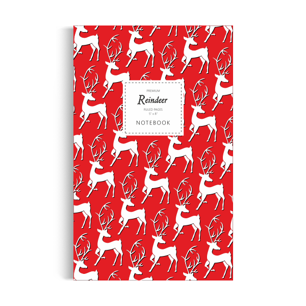Reindeer Notebook: Red Edition (5x8 inches)