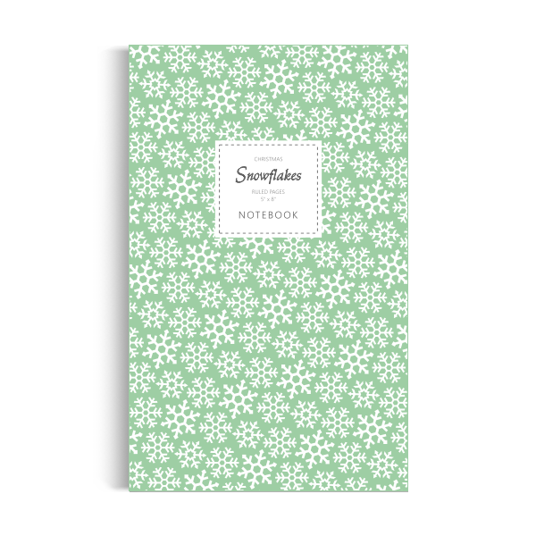 Snowflakes (Christmas) Notebook: Green Edition (5x8 inches)