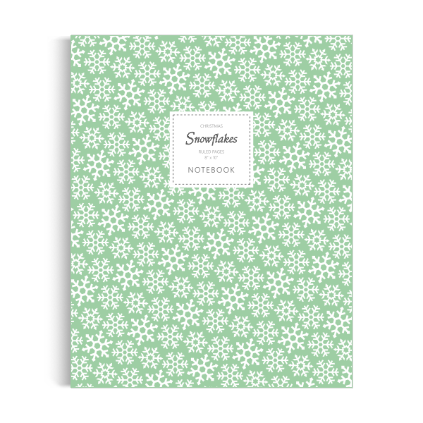 Snowflakes (Christmas) Notebook: Green Edition (8x10 inches)