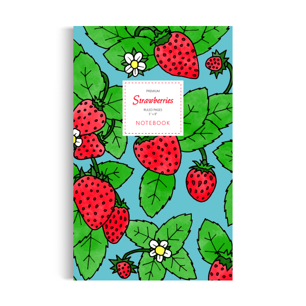 Notebook: Strawberries Sky Blue Edition