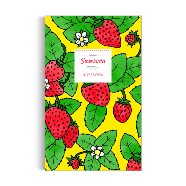 Strawberries Notebook: Yellow Edition (5x8 inches)