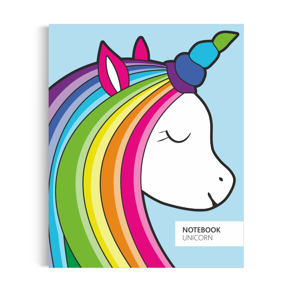 Unicorn Notebook: Blue Edition (8x10 inches)