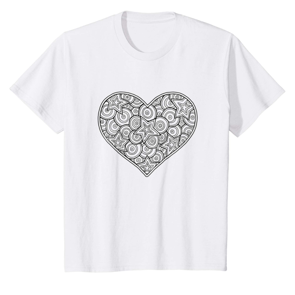 T-Shirt Colouring: Heart (Men, Women & Kids)