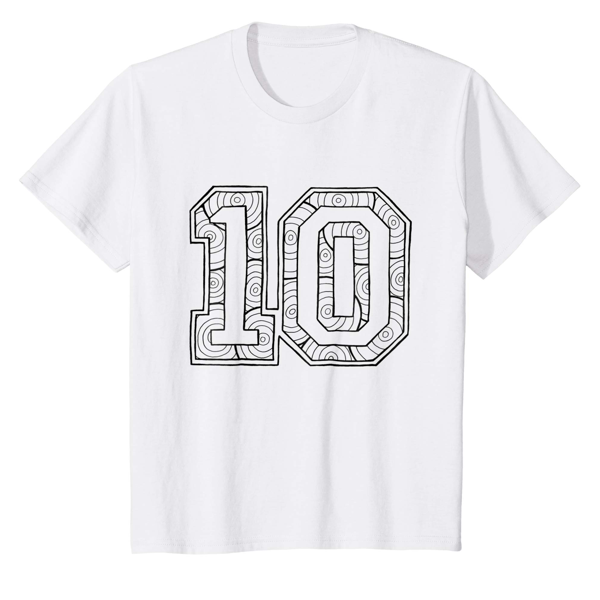 T-Shirt Colouring: Number 10 (Men, Women & Kids)