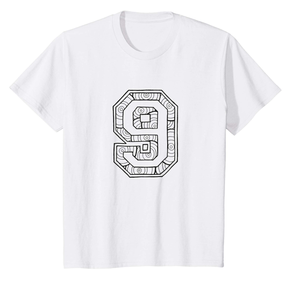 T-Shirt Colouring: Number 9 (Men, Women & Kids)
